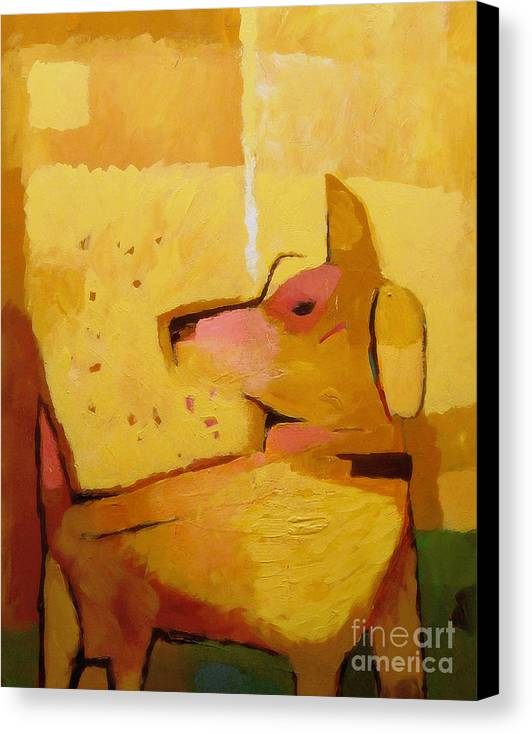 Dog Canvas Print featuring the painting Yellow Dog by Lutz Baar