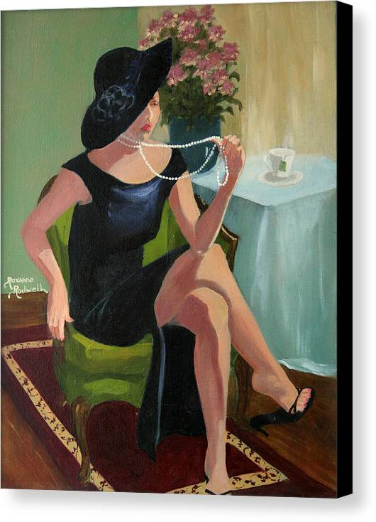 Figure Canvas Print featuring the painting Black Hat And Beads by Roxanne Rodwell