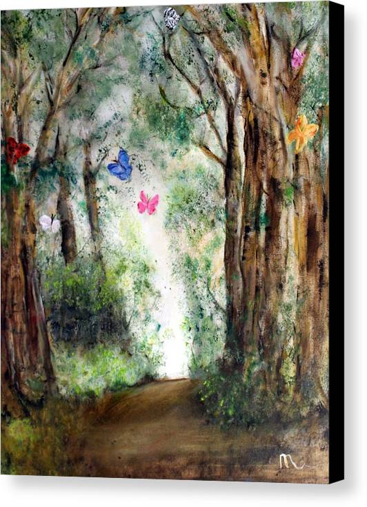 Landscape Canvas Print featuring the painting Butterfly Forest by Michela Akers