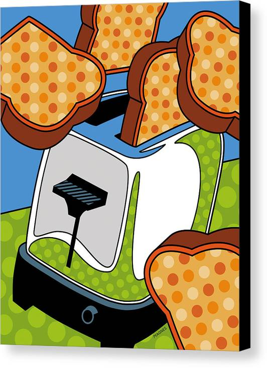 Toast Canvas Print featuring the digital art Flying Toast by Ron Magnes