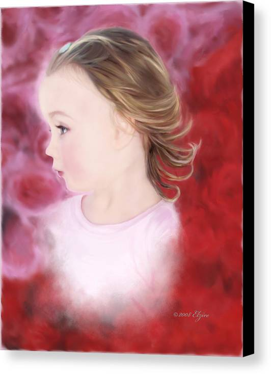 Little Girl Canvas Print featuring the painting In The Pink by Elzire S