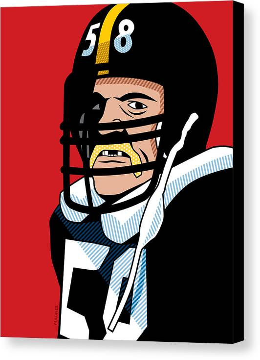 Graphic Canvas Print featuring the digital art Jack Lambert by Ron Magnes