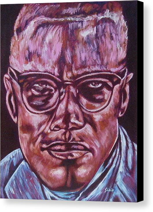 African Americam Canvas Print featuring the painting Malcolm by Shahid Muqaddim