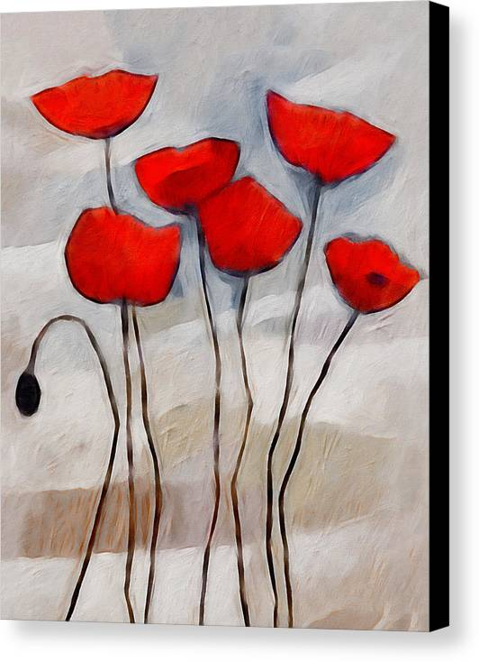 Poppies Canvas Print featuring the painting Poppies Painting by Lutz Baar