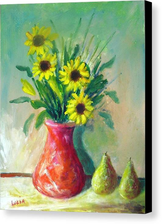 Ceramic. Pottery. Vases. Flowers. Canvas Print featuring the print Pottery Vase And Flowers by Carl Lucia