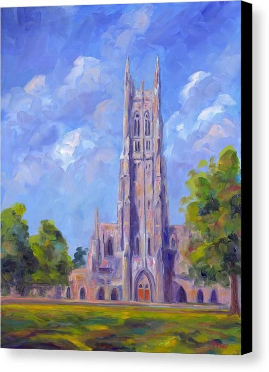 Duke Chapel Canvas Print featuring the painting The Chapel At Duke University by Jeff Pittman