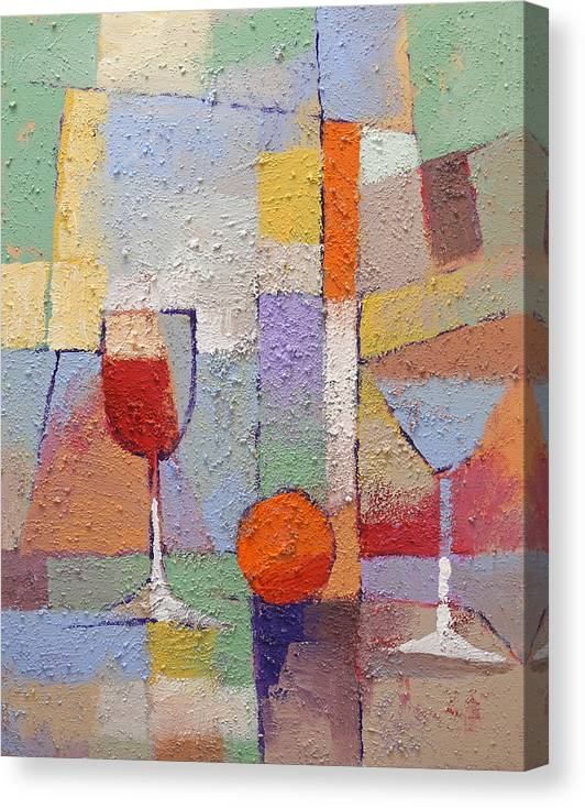 Cuisine Textured Canvas Print featuring the painting Cuisine Textured by Lutz Baar