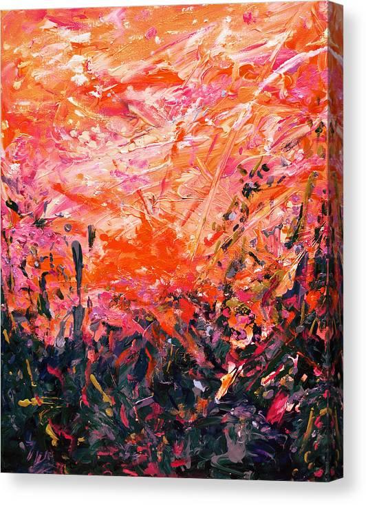 Bluegrass Canvas Print featuring the digital art Bluegrass Sunrise - Crimson A-left by Julie Turner