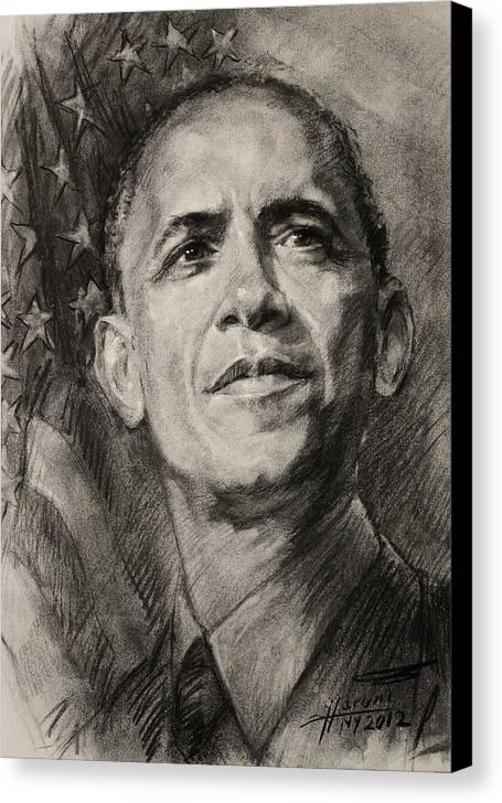 Barack Obama Canvas Print featuring the drawing Commander-in-chief by Ylli Haruni