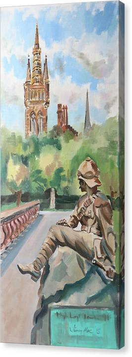 Kelvingrove Park Canvas Print featuring the painting Kelvingrove Park - Brains Not Bombs by Jimmy Mackellar