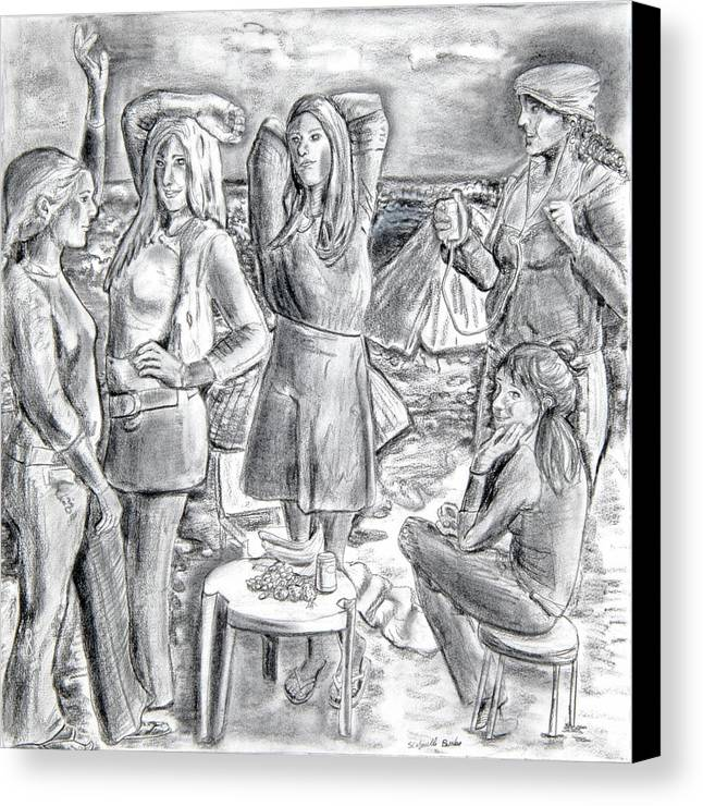 Demoiselles Canvas Print featuring the drawing Les Demoiselles V1 by Susan Cafarelli Burke