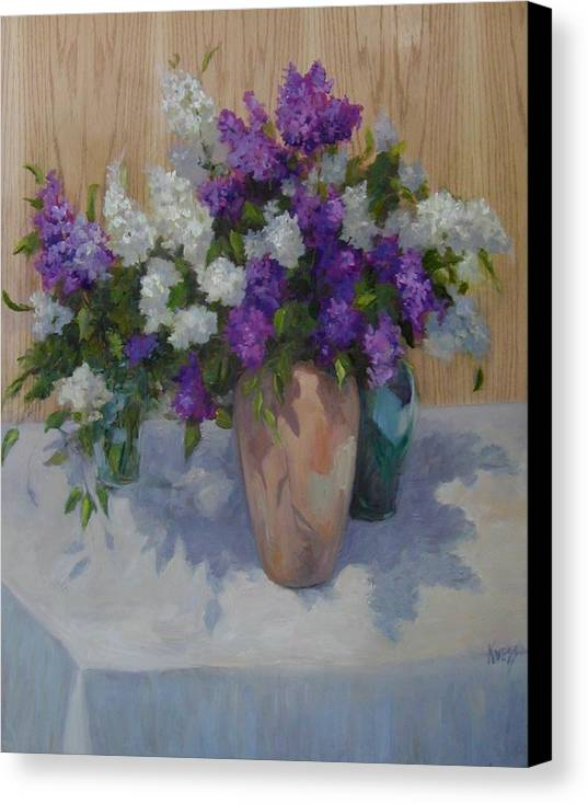 Lilacs Canvas Print featuring the painting Lilacs by Patricia Kness