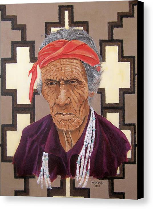 American Indian Canvas Print featuring the painting Navajo Medicine Man by Raymond Schuster