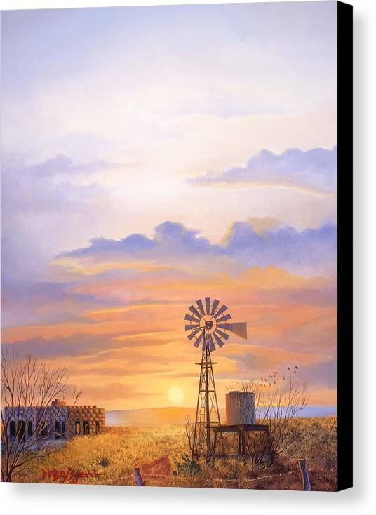 Windmill Canvas Print featuring the painting West Texas Sundown by Howard Dubois