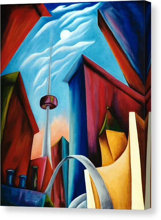 Toronto Landscape Canvas Print featuring the painting O'keeffe's Toronto by Lynn Soehner