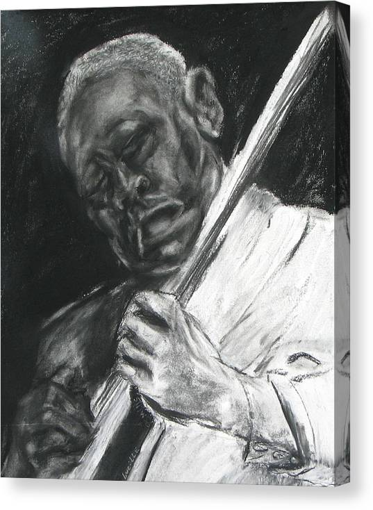 Man Playing Guitar Canvas Print featuring the drawing The Guitar Player by Patrick Mills