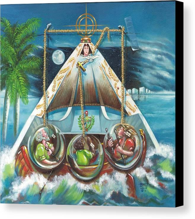 Ermita De La Caridad Canvas Print featuring the painting La Virgen De La Caridad Del Cobre En Miami by Roger Calle