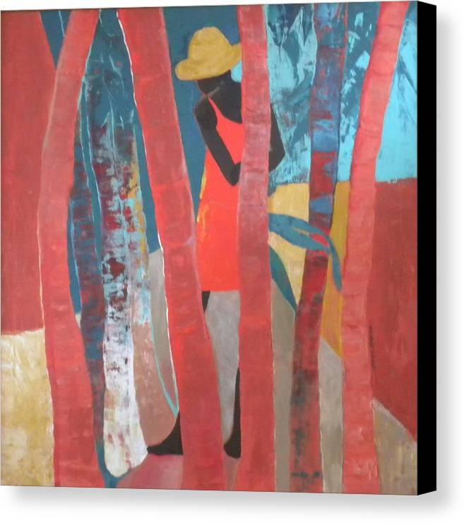 Abstract Canvas Print featuring the painting Lady In Red Number Two by Jan Farara