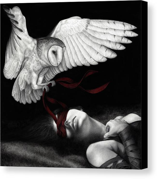 Woman Canvas Print featuring the painting On Silent Wings by Pat Erickson