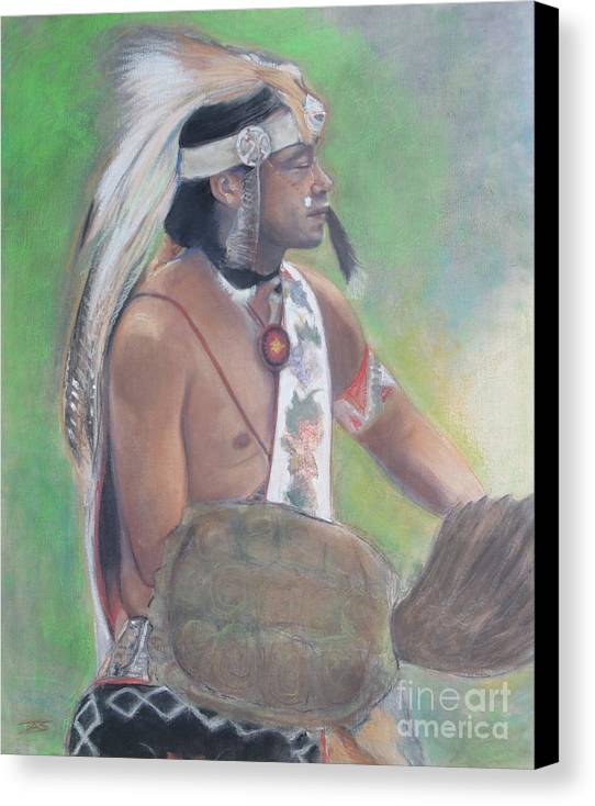 Native American Canvas Print featuring the painting Wampanoag Dancer by Terri Ana Stokes