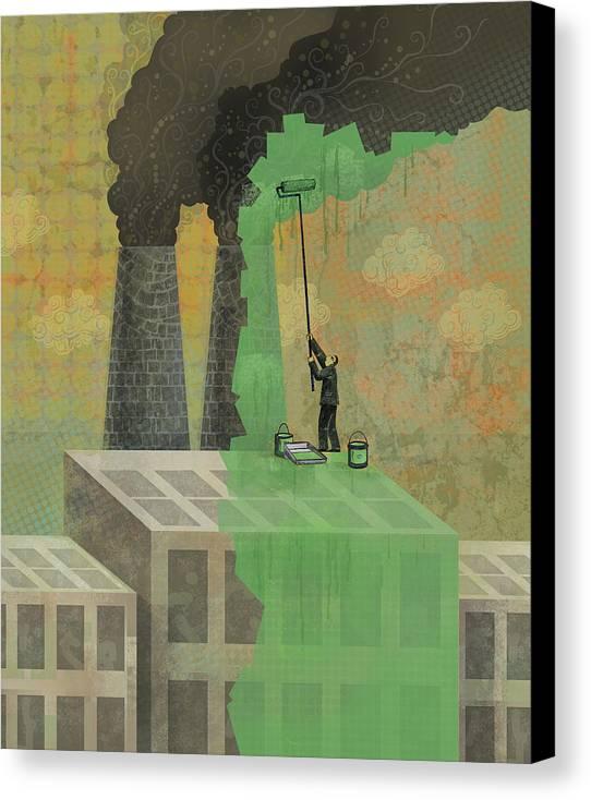 Canvas Print featuring the digital art Greenwashing by Dennis Wunsch