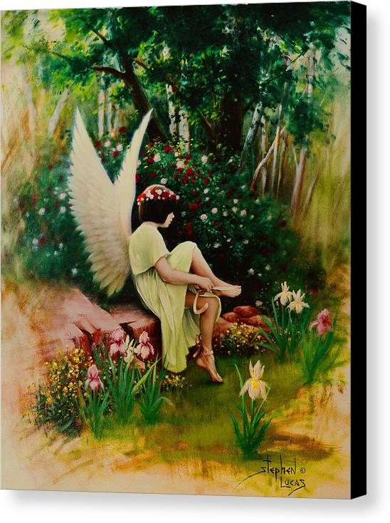 Angel Canvas Print featuring the painting Beltaine Angel by Stephen Lucas