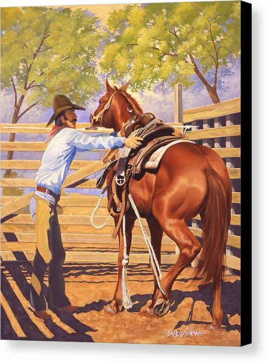 Cowboy Canvas Print featuring the painting First Saddling by Howard Dubois