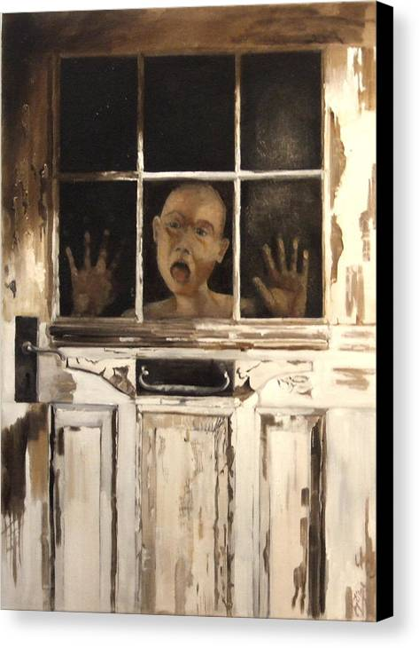 Figurative Canvas Print featuring the painting Behind Closed Doors by Jane Simpson