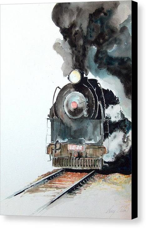 Trains Canvas Print featuring the painting Smokin by Greg Clibon