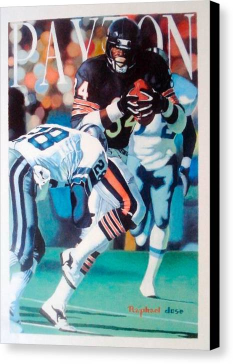 Portrait Canvas Print featuring the painting Walter Payton by Raphael Sanabria