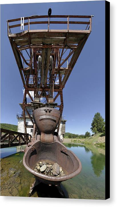 Gold Canvas Print featuring the photograph Frowning Dredge by Stephen Thompson