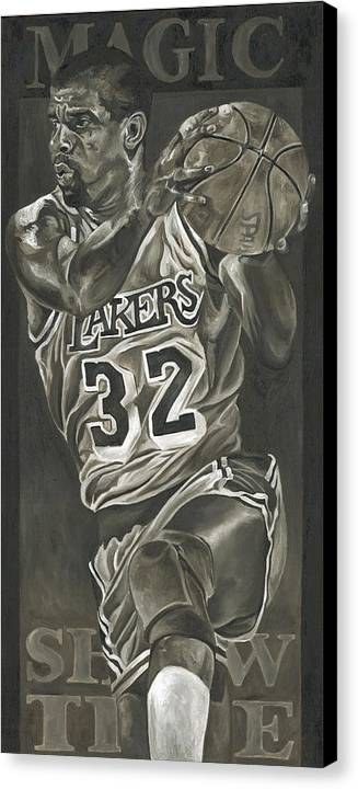 Magic Johnson Canvas Print featuring the painting Magic Johnson - Legends Series by David Courson