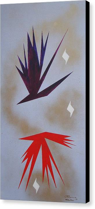 Birds Canvas Print featuring the painting Mating Ritual by J R Seymour
