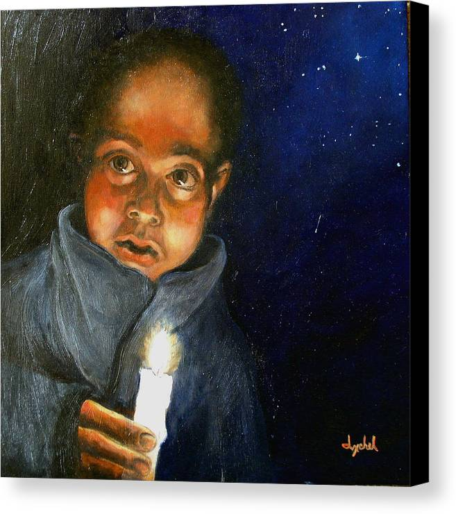 Child Canvas Print featuring the painting Pidiendo Posada by Ixchel Amor