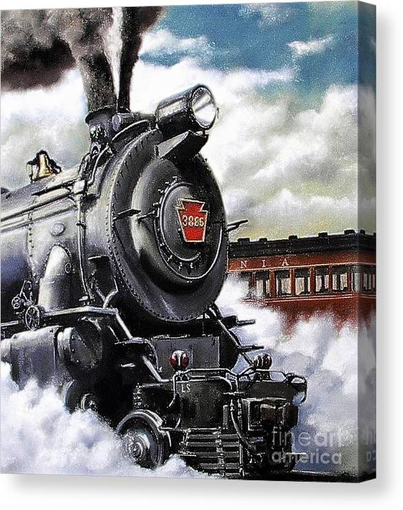 Pennsylvania Railroad Train Painting Railroad Maryland And Pennsylvania Autumn Fall Colors Steam Engine Canvas Print featuring the painting Pennsy #3885 by David Mittner