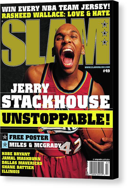 Jerry Stackhouse Canvas Print featuring the photograph Jerry Stackouse: Unstoppable! SLAM Cover by Getty Images