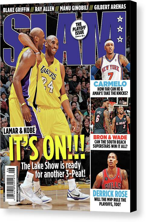 Kobe Bryant Canvas Print featuring the photograph Lamar & Kobe: It's On!!! SLAM Cover by Getty Images