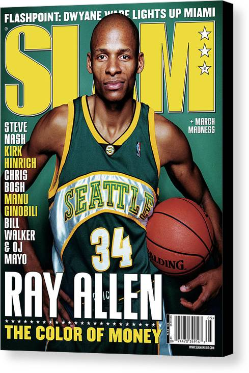 Ray Allen Canvas Print featuring the photograph Ray Allen: The Color of Money SLAM Cover by Clay Patrick McBride