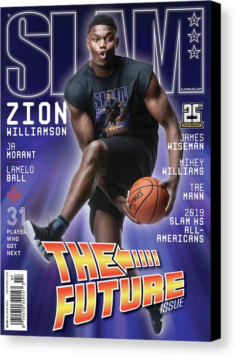 Zion Williamson Canvas Print featuring the photograph Zion Williamson: The Future Issue SLAM Cover by Matthew Coughlin