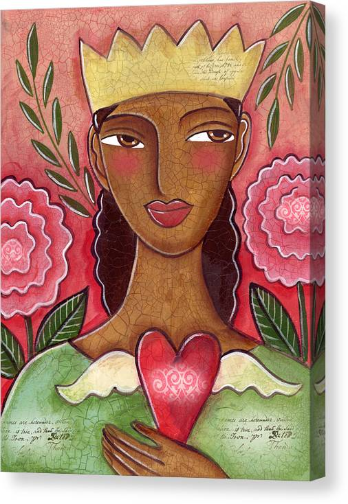 Heart Canvas Print featuring the painting Crowned Heart by Elaine Jackson
