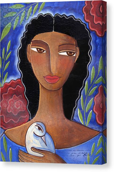 African American Canvas Print featuring the mixed media I Know I Can Love by Elaine Jackson