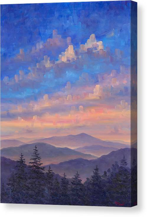 Blue Ridge Parkway Canvas Print featuring the painting Parkway Ridges at Dusk by Jeff Pittman