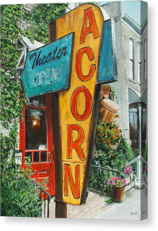 Americana Canvas Print featuring the painting Acorn Theater by William Brody