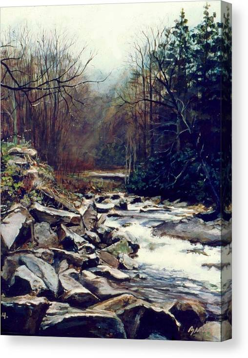 Landscape Canvas Print featuring the painting Cherokee Stream by William Brody