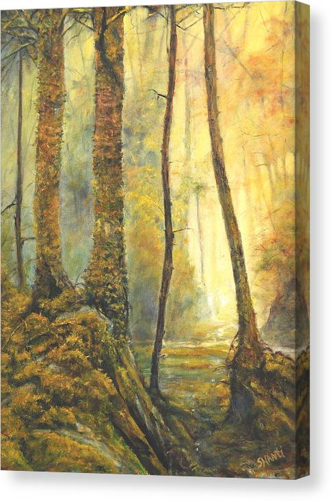 Landscape Impressionist Forest Canvas Print featuring the painting Forest Wonderment by Craig shanti Mackinnon
