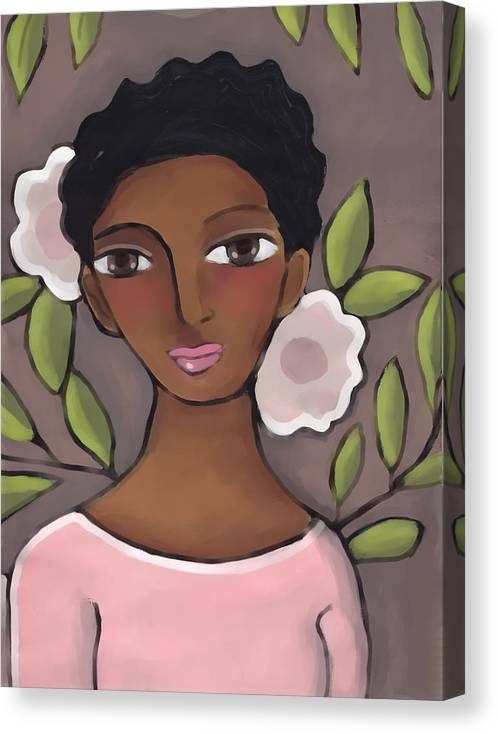 African American Canvas Print featuring the painting Pink Flower 2 by Elaine Jackson