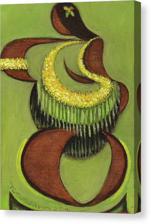 Hula Canvas Print featuring the painting Tommervik Abstract Hula Dancer Hawaii Art Print by Tommervik