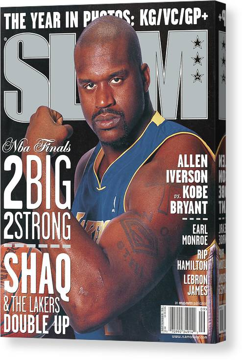 Shaquille O'neal Canvas Print featuring the photograph 2 Big - 2 Strong: Shaq & The Lakers Double Up SLAM Cover by Getty Images
