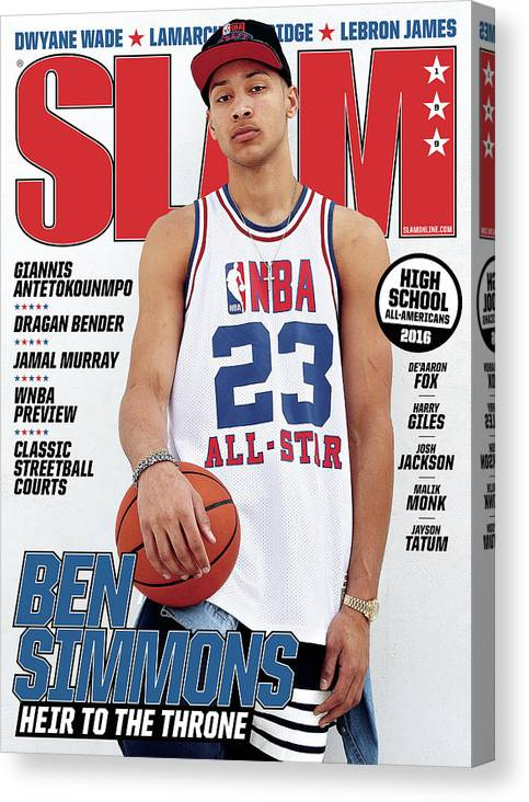Ben Simmons Canvas Print featuring the photograph Ben Simmons: Heir to the Throne SLAM Cover by Tom Medvedich