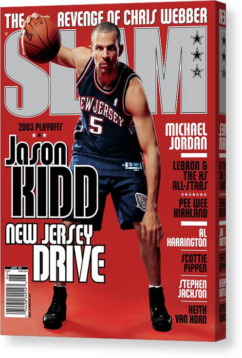 Jason Kidd Canvas Print featuring the photograph Jason Kidd: New Jersey Drive SLAM Cover by Clay Patrick McBride
